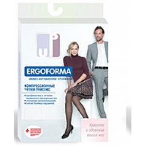 Чулки компрессионные унисекс Ergoforma UP 1 класса компрессии (18-21 мм рт.ст) с открытым носком, черные EU 216